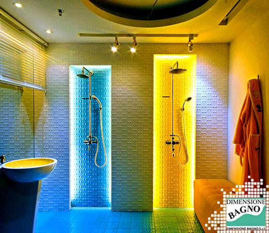 Luci a led colorate per creare atmosfera nella stanza da bagno.