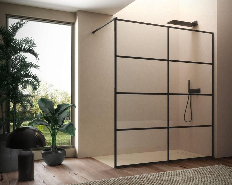 Se scegli un box doccia in stile Urban, cura la manutenzione delle parti metalliche (questo è di Disenia)